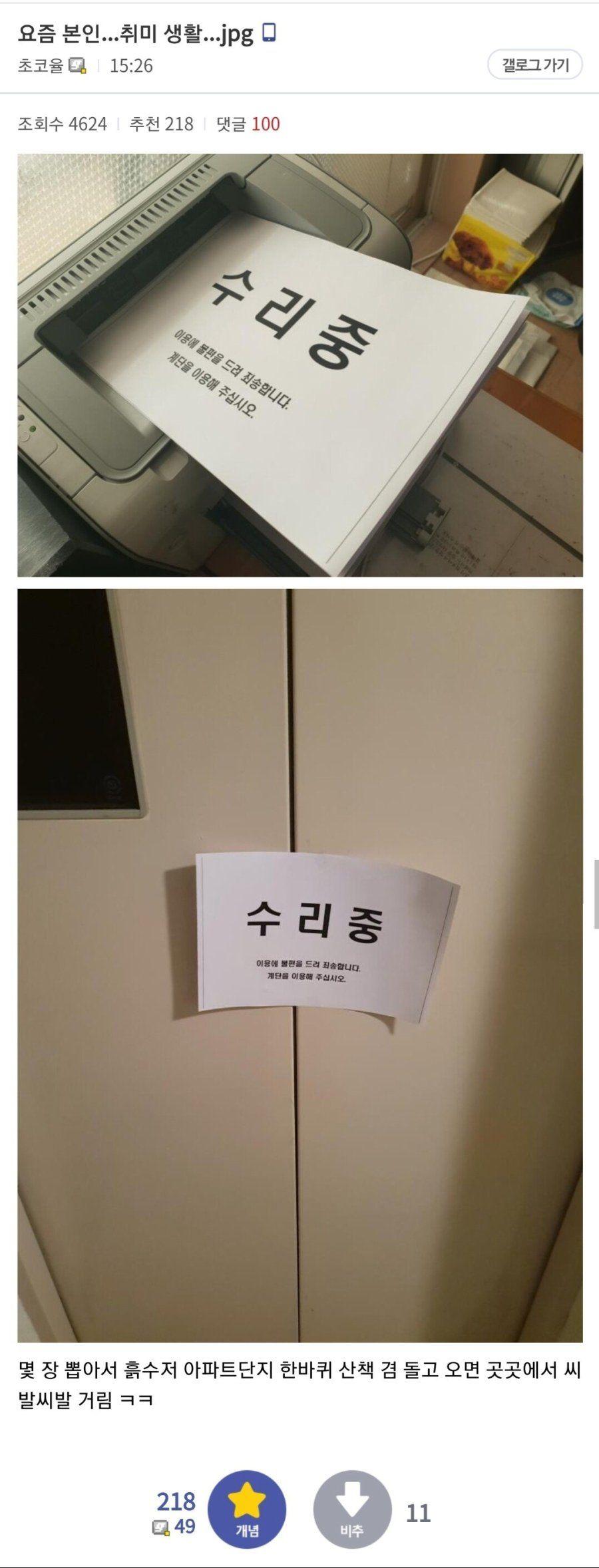 요즘 본인 취미 생활 초코 율메 로그 가기 회수 추천 댓글 수리 이용 불편 계단 이용